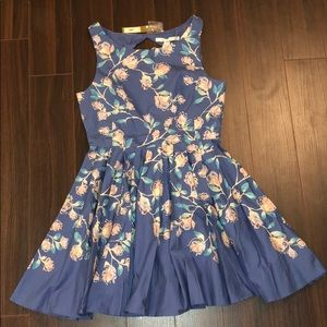 LAUREN CONRAD BLUE FLORAL DRESS | SIZE 12